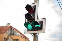 The Green Traffic lights with right arrow stock images