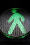 Green traffic sign for pedestrians Stock Image
