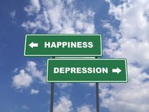 Green traffic sign quote : Happiness vs Depression stock photography