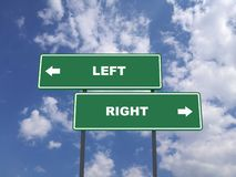 Green traffic sign quote : Left vs Right royalty free stock image