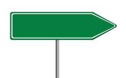Green traffic sign template with copy space, white background, isolated Stock Photo