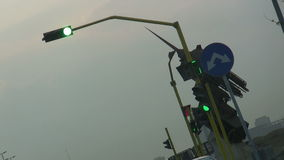 Green Traffic signal in city of Jeddah stock video