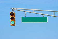 Green Traffic Signal Light With Sign Stock Photography