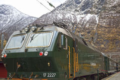 A green train at famous Flam railway in Norway Stock Images