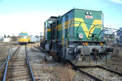 Green train locomotive. Train  green yellow  locomotive travel  iron steel Stock Photo