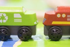 Green train and Red train Wooden toy - Toys for kids Play set Ed. Ucational toys for preschool indoor playground Stock Photo