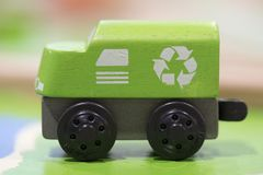 Green train Wooden toy - Toys for kids Play set Educational toys Royalty Free Stock Photos