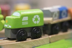 Green train Wooden toy - Toys for kids Play set Educational toys Royalty Free Stock Image
