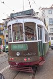 Green tram in Lisbon Royalty Free Stock Images