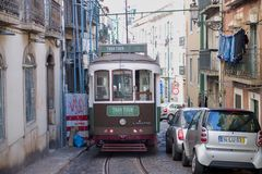 Green tram in old town Lisbon Royalty Free Stock Photography