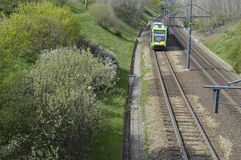 Green tram on the rails. Poznan, Poland - April: Green tram on the rails Royalty Free Stock Image