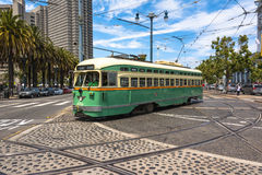 The green tram in San Francisco Stock Photography