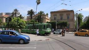 Green tramway. TUNISIA, TUNIS, JUNE 30, 2010: Green high-speed urban tramway in Tunisia, Tunis, June 30, 2010 stock video