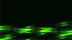Green transparent abstract shining magical cosmic magical energy lines, rays with highlights and dots and light auroras on a dark. Background from below. Vector stock illustration