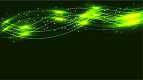 Green transparent abstract shiny magical cosmic magical energy lines, rays with highlights and dots and light shines with waves on. A green background from Stock Image