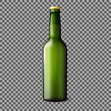 Green transparent realistic beer bottle  on plaid background with place for your design and branding. Vector Royalty Free Stock Photo