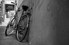 Green Transport. Environmentally friendly mode of transport.  Bicycle leaning against a wall Royalty Free Stock Images