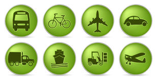 Green transport icons vector illustration