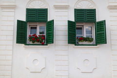 Green Transylvanian windows, in Rimetea village, Romania Royalty Free Stock Images