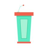 Green trapezoidal tribune icon with microphone. Concept of public speaking, conferences and report. isolated on white background. flat style design modern Royalty Free Stock Images