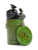 Green Trash Can and Bag Stock Images