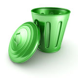 green trash can bin with cover on white background Royalty Free Stock Photo