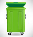 Green trash can with cap Stock Photography