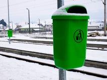 Green trash can close up shot stock photos