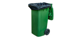 Green Trash can. Isolate on white background Royalty Free Stock Images