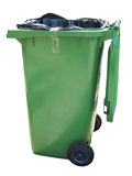 Green trash container isolated over white Stock Photo