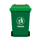 Green Trash with man throw out the thrash icon. Isolated on white background, flat design style-Vector Illustration Royalty Free Stock Photos