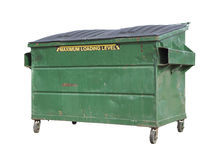 Green Trash or Recycle Dumpster On White with Clipping Path Royalty Free Stock Image
