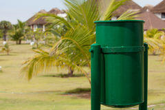 Green trashcan on summer resort i Stock Photo