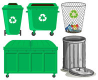 Green trashcans with recycle sign Royalty Free Stock Image