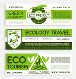 Green travel and ecotourism banner template design. Travel and ecotourism banner template set. Ecology responsive travel agency flyer, poster, business card with Stock Photo