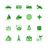 Green travel icons. On the white background Stock Photo