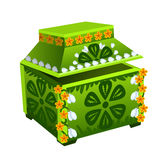 Green treasure chest with floral ornament. Vector Royalty Free Stock Image