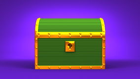 Green Treasure Chest. On Purple Background stock video