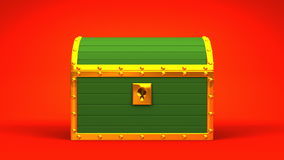 Green Treasure Chest. On Red Background stock video