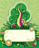 Green tree. Raster version of vector multicolored image of green tree, flowers and other plants with abstract elements and place for text against a decorative Stock Photo