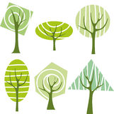 Green tree. Six green tree, vector icons Stock Photography