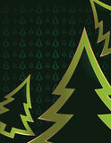 Green tree background 6. Bright green pine tree outlines cropped on a darker green pine tree patterned background Stock Photos