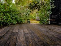 Green tree background with wooden planks, royalty free stock photography
