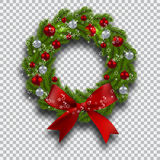 Green tree branch in the form of a Christmas wreath with shadow and snowflakes. Red and silver balls checker background Royalty Free Stock Photos