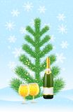 Green tree and champagne on to snow Stock Photography