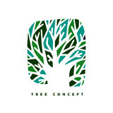 Green tree concept symbol design for nature care. Green tree concept design, abstract illustration art for environment care or nature help project. EPS10 vector Stock Photos