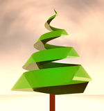 Green tree conceptual shape at windy weather Royalty Free Stock Images