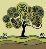 Green tree with curls. Garden Vector Illustration