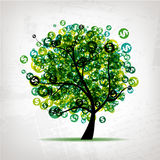 Green tree with dollars leaf on grunge background. Vector Stock Image
