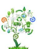 Green tree with eco icons Stock Photos